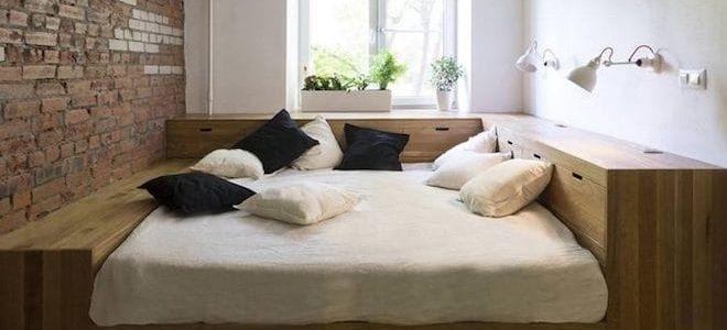Кровать подиум , нестандартное решение для спальни